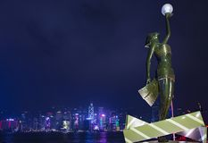 Avenue of Stars in Hong Kong. Hollywood statue at Avenue of Stars in Hong Kong. Victoria Harbour is world-famous for its stunning panoramic night view Stock Image
