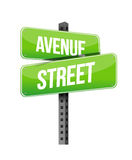 Avenue and street road sign Stock Photos