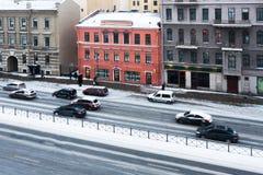 Avenue traffic St. Petersburg winter Royalty Free Stock Photo