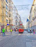 The avenue with the tram line Stock Photo