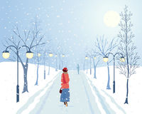 Avenue of trees. An illustration of a woman walking through an avenue of winter trees and lamp posts in a snow covered park Royalty Free Stock Image