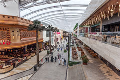 The Avenues Mall in Kuwait City. KUWAIT- DECEMBER 10: Interior of The Avenues Mall in Kuwait. December 10, 2014 in Kuwait City, Middle East Royalty Free Stock Photos
