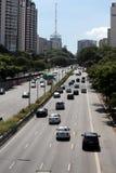 Aveny i Sao Paulo, Brasilien Arkivbild