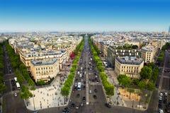 Avenydes Champs-Elysees i Paris, Frankrike Arkivbilder