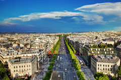 Avenydes Champs-Elysees i Paris, Frankrike Arkivfoto