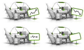 Average basket size or value. Basket with goods inside, a green sign with a chart indicate increase, decrease, or stagnation of the prices, there is also a blank Royalty Free Stock Image
