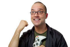 Average gamer wins!. The average gamer celebrates a victory stock photo