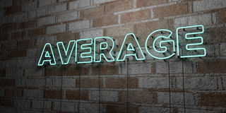 AVERAGE - Glowing Neon Sign on stonework wall - 3D rendered royalty free stock illustration. Can be used for online banner ads and direct mailers Stock Images