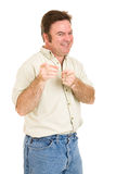 Average Guy Humor. Average forty year old man in a humorous pose, pointing at you. Isolated on white royalty free stock images