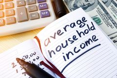 Average household income written in a note. Average household income written in a note and money Stock Photography