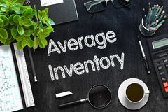Average Inventory - Text on Black Chalkboard. 3D Rendering. Stock Image