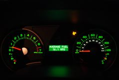 Average Miles Per Gallon MPG. Indicator Royalty Free Stock Photos