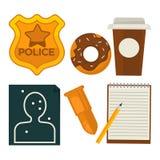 Daily average policeman belongings isolated cartoon illustrations set royalty free illustration