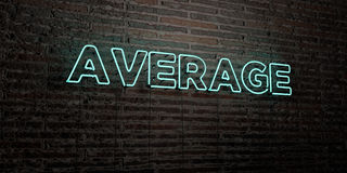 AVERAGE -Realistic Neon Sign on Brick Wall background - 3D rendered royalty free stock image. Can be used for online banner ads and direct mailers Stock Photo
