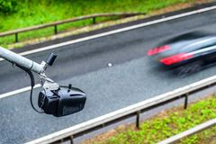 Average speed traffic monitor camera over UK Motorway royalty free stock photo