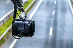 Average speed traffic monitor camera over UK Motorway stock photos