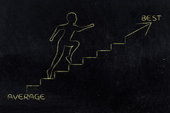 From average to best, man climbing stairs metaphor Royalty Free Stock Photo