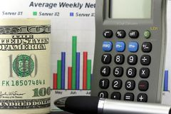 Average Weekly Network Report. One hundred dollar bill, pen and calculator with colored bar graph in background. This photo conveys financial management concepts Royalty Free Stock Image