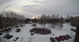 Average yard of a small city in winter a large viewing angle with sky and clouds. Time lapse video 4k stock video
