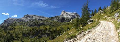Averau and Nuvolau, Dolomites. Panoramic view of the Averau and Nuvolau mountains, Dolomites - Italy royalty free stock photo