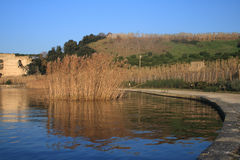 Averno lake. Pozzuoli (near Naples) The averno lake with the Apollo temple on the background at the sunset stock photo