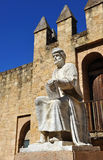 Averroes, arab philosopher of Cordoba, Spain. Statue of Averroes, famous Arab philosopher born in Cordoba, Spain stock photo