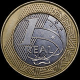 Avers a coin of 1 Real (Brazil) Stock Photos