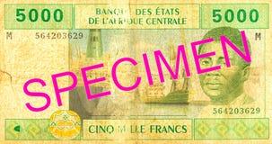 avers för sedel för franc för 5000 central afrikanCFA arkivfoton