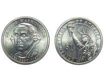 Avers och vänder om av ett dollarmynt för USA George Washington med isolerad bakgrund royaltyfria bilder