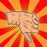 Aversión del arte pop del vintage Un gesto negativo en redes sociales Manosee con los dedos abajo en estilo retro en un fondo mul Fotografía de archivo libre de regalías