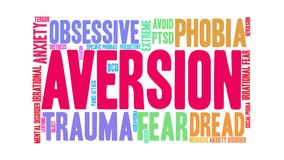 Aversion Animated Word Cloud vector illustration