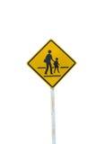Averti de l'isolat de route de signe d'adulte et d'enfant sur le fond blanc Photos libres de droits