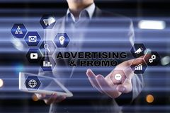 Avertising, marketing strategy. Business, internet and technology concept. Royalty Free Stock Image