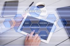 Avertising, marketing strategy. Icons and graphs on virtual screen. Business, internet and technology concept. Avertising, marketing strategy. Icons and graphs Royalty Free Stock Photography