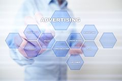 Avertising, marketing strategy. Icons and graphs on virtual screen. Business, internet and technology concept.  Stock Photos