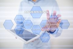 Avertising, marketing strategy. Icons and graphs on virtual screen. Business, internet and technology concept. Avertising, marketing strategy. Icons and graphs Stock Image