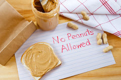 Avertissement - aucunes arachides permises Photographie stock libre de droits