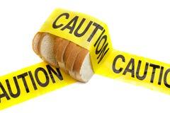 Avertissement d'allergie d'attention, de gluten et de blé images stock