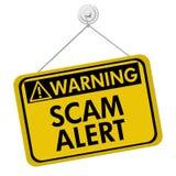 Avertissement de l'alerte de Scam Image libre de droits
