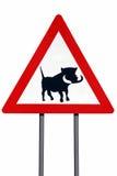 Avertissement de signe de route de Warthogs - d'isolement photographie stock libre de droits