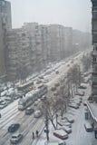 Avertissement de temps grave en hiver Photographie stock libre de droits