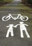 Avertissement de voie de cycle Image libre de droits