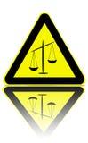 Avertissement de zone de justice Photographie stock libre de droits