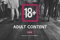 Avertissement dix-huit satisfait explicite adulte plus Images libres de droits