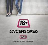 Avertissement dix-huit satisfait explicite adulte plus Image stock