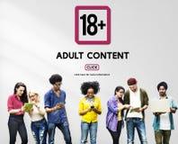 Avertissement dix-huit satisfait explicite adulte plus Image libre de droits