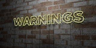 AVERTISSEMENTS - Enseigne au néon rougeoyant sur le mur de maçonnerie - 3D a rendu l'illustration courante gratuite de redevance illustration libre de droits
