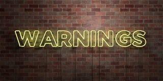 AVERTISSEMENTS - tube au néon fluorescent connectez-vous la brique - vue de face - photo courante gratuite de redevance rendue pa illustration de vecteur