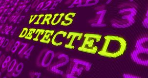 Avertissements ultra-violets d'attaque de Cyber - virus détecté illustration stock