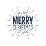 Avery Merry Christmas a voi etichetta di tipografia Retro sovrapposizione della foto, distintivo Illustrazione dell'iscrizione di Immagini Stock Libere da Diritti